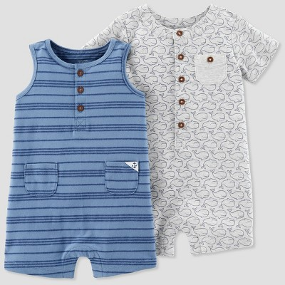 Baby Boys' 2pk Romper - Just One You® made by carter's Blue/Gray 3M
