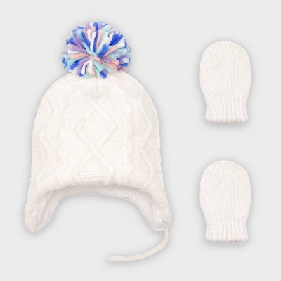Baby Girls' Cable Knit Hat and Magic Mittens Set - Cat & Jack™ Cream 0-6M