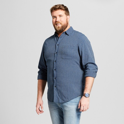 Men's Big & Tall Striped Standard Fit Long Sleeve Denim Button-Down Shirt - Goodfellow & Co™ Jamestown Blue - image 1 of 3