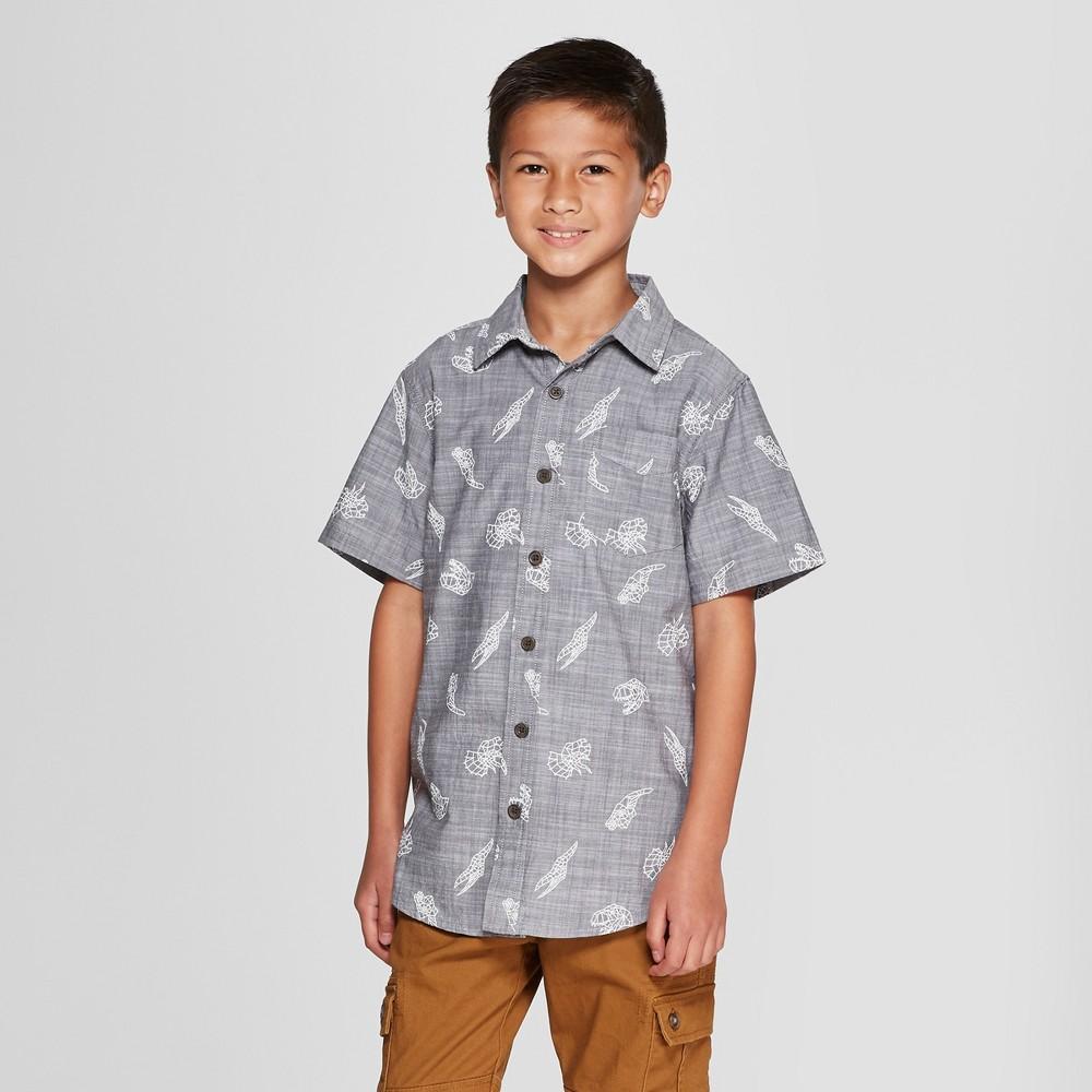 Boys' Dinosaur Print Short Sleeve Button-Down Shirt - Cat & Jack Charcoal Gray XL Husky