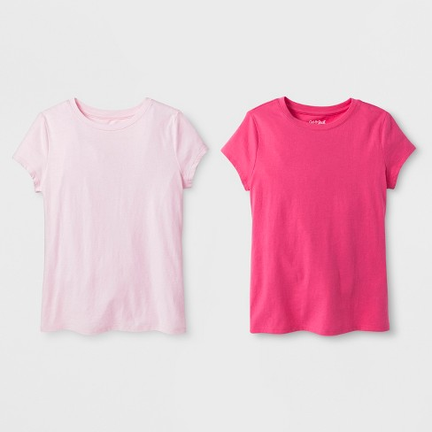 Girls' 2pk Solid Short Sleeve T-Shirt - Cat & Jack™ Light Pink/Pink - image 1 of 1