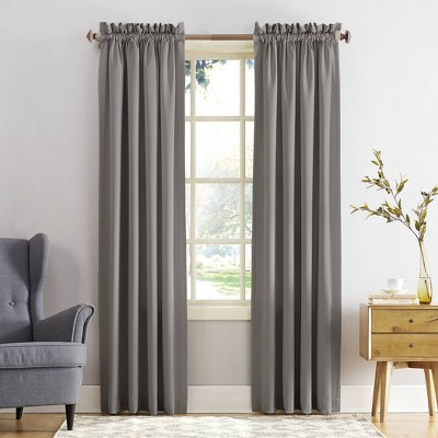 "Set of 2 84""x54"" Ren Room Darkening Rod Pocket Curtain Panel Gray - Sun Zero"