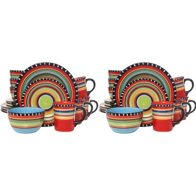 Gibson Elite 16 Piece Multi Color Hand Painted Durable Reactive Glaze Dinnerware Set, Plates, Bowls & Mugs, Microwave/Dishwasher Ready (2 Pack)
