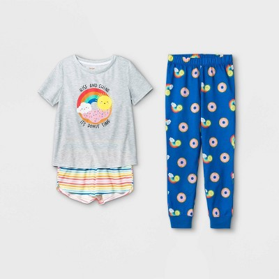 Girls' 3pc Rainbow Donut Sunshine Pajama Set - Cat & Jack™