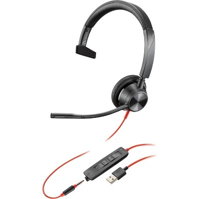 Plantronics Blackwire 3315 - Wired, Single-Ear (Mono) Headset with Boom Mic, USB-A / 3.5mm to Connect to Your PC, Mac, Cell Phone - Works with Teams (Certified), Zoom & More