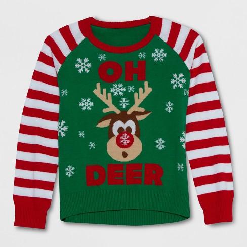 well worn girls oh deer christmas sweater greenred