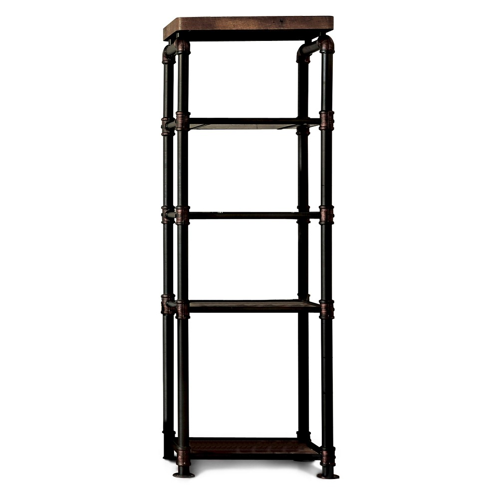 Sun & Pine Stonehedge Industrial Pipe Inspired Pier Cabinet Antique Black