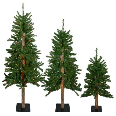Northlight 3ct Pre-Lit Flocked Alpine Artificial Christmas Trees 3ft, 4ft and 5ft - Multi Lights