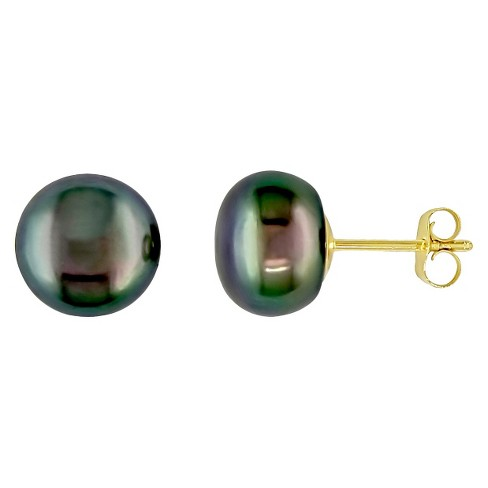 9 10mm Cultured Freshwater On Pearl Stud Earrings In 10k Yellow Gold Black