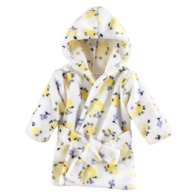 Luvable Friends Baby Girl Plush Bathrobe, Yellow Floral, 0-9M