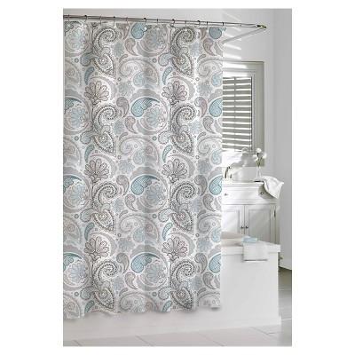 Floral Swirls Shower Curtain Blue/Gray - Cassadecor