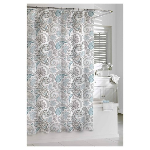 Paisley Shower Curtain Blue Gray