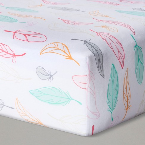 Fitted Crib Sheet Feathers - Cloud Island™ Pink - image 1 of 2