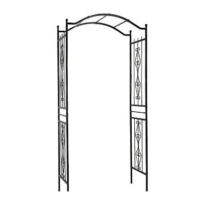 Gardman R355 Charleston 7 Foot Scrollwork Outdoor Backyard Lawn Garden Metal Trellis Arch for Hanging Potted Plants and Climbing Vines, Black