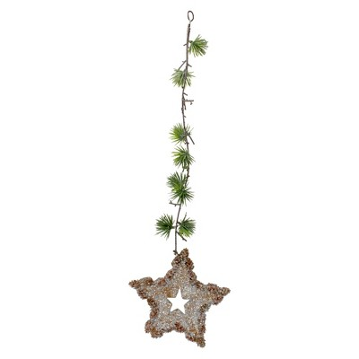 """Northlight 25"""" Brown and Green Artificial Mini Pine Needle Sprig with Star Hanging Spray"""