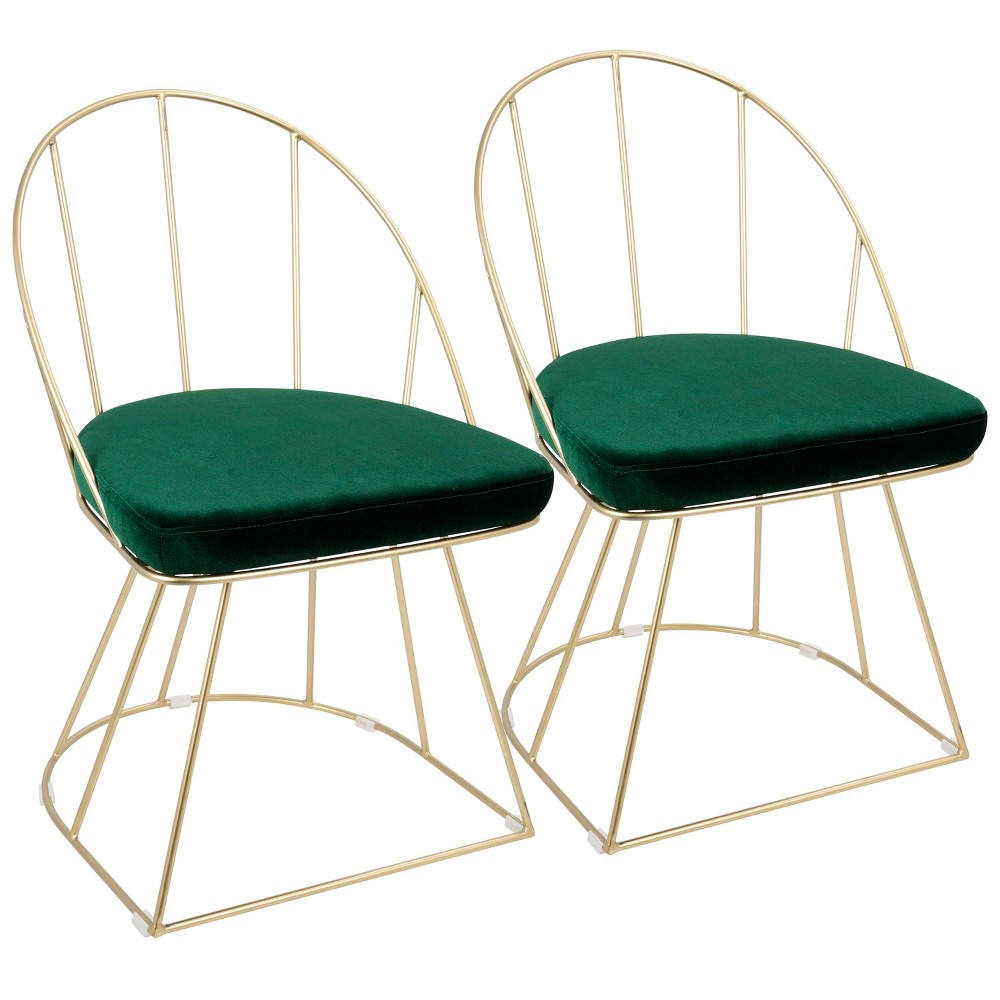 Set of 2 Lumisource Canary Contemporary Dining Accent Chair Green