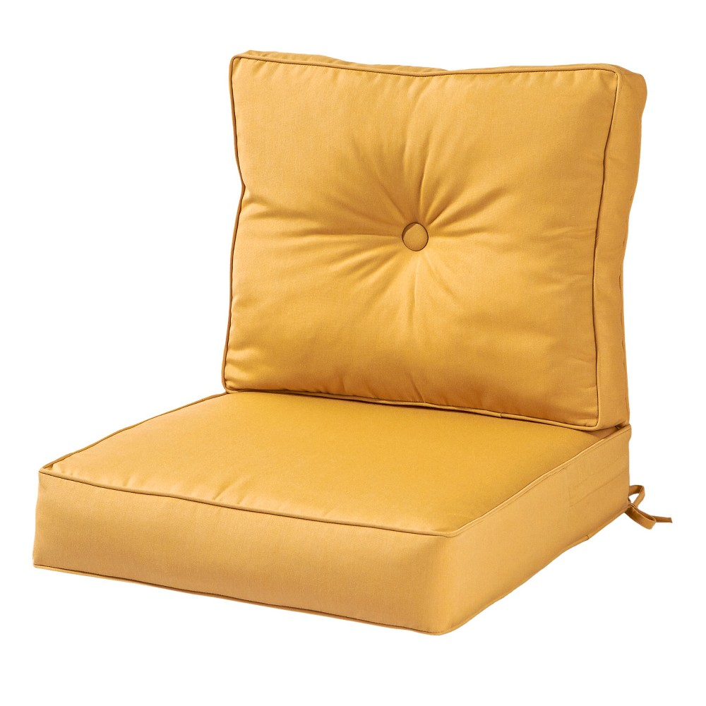 2pc Outdoor Deep Seat Cushion Set w/ Sunbrella Fabric - Wheat - Greendale Home Fashions