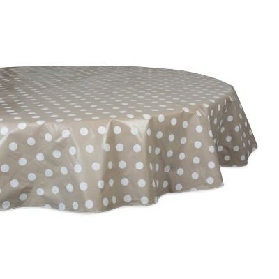 "70"" Cotton Polka Dots Round Kitchen Tablecloth Natural - Design Imports"
