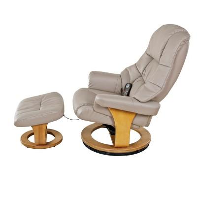 Plush 8 Motor Massage Leisure Recliner With Ottoman   Relaxzen : Target