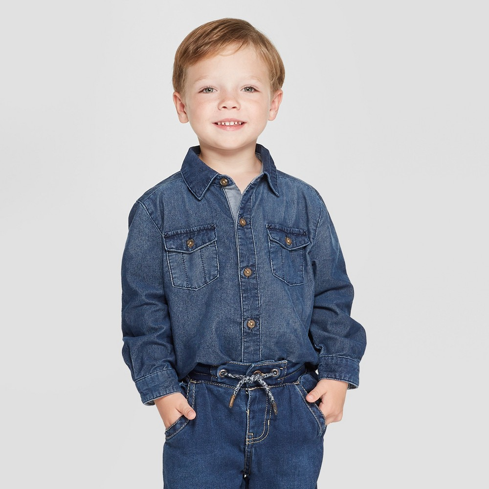 Image of Genuine Kids from OshKosh Toddler Boys' Long Sleeve Brushed Denim Shirt - Dark Blue 12M, Toddler Boy's