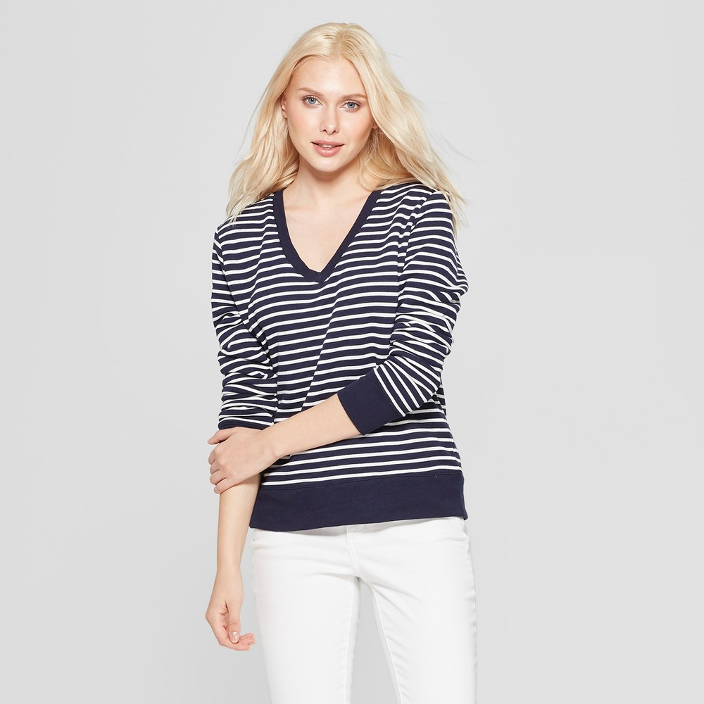 Women's Striped Long Sleeve V-Neck Pullover - A New Day Navy/Cream Xxl, Blue Off-White
