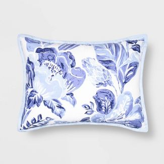 Standard Floral Print Tufted Pillow Sham Blue/White - Opalhouse™