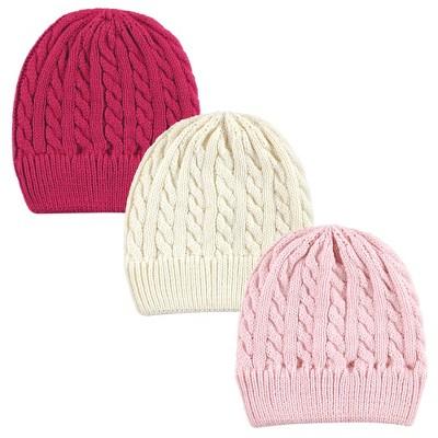 Hudson Baby Family Knitted Caps 3pk, Pink Cream