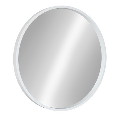 "22"" x 22"" Travis Round Wood Accent Wall Mirror White - Kate and Laurel"