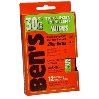 Ben's 30 Deet Wipes - 12ct