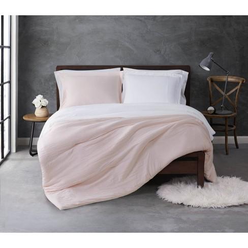 Full/Queen 3pc Garment Wash Reversible Comforter Set Blush/Cream - Sean John - image 1 of 4