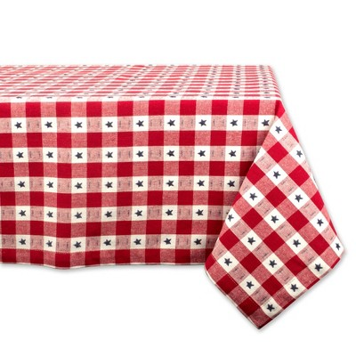 84 x60  Star Check Tablecloth Red/White - Design Imports
