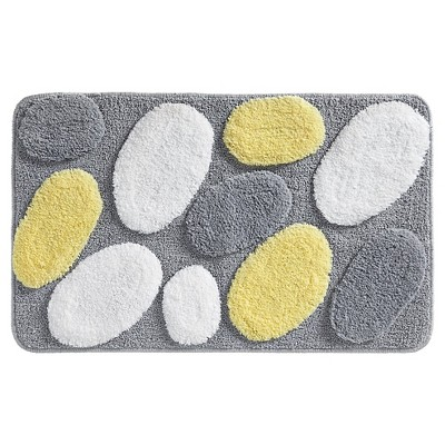 Microfiber Rectangular Rug Gray/Yellow - iDESIGN