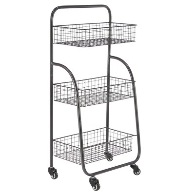 18  x 36 Metal 3 Tier Rolling Cart Black