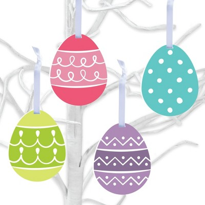Big Dot of Happiness Hippity Hoppity - Easter Egg Decorations - Tree Ornaments - Set of 12