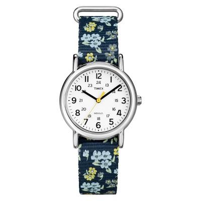 Timex Weekender Slip Thru Floral Nylon Strap Watch - Blue T2P370JT