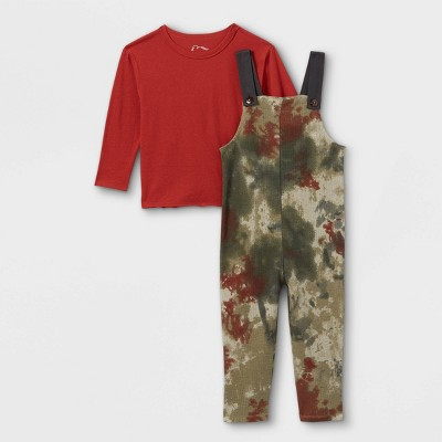 Toddler Boys' 2pc Long Sleeve T-Shirt & Thermal Tie-Dye Overalls - art class™ Red