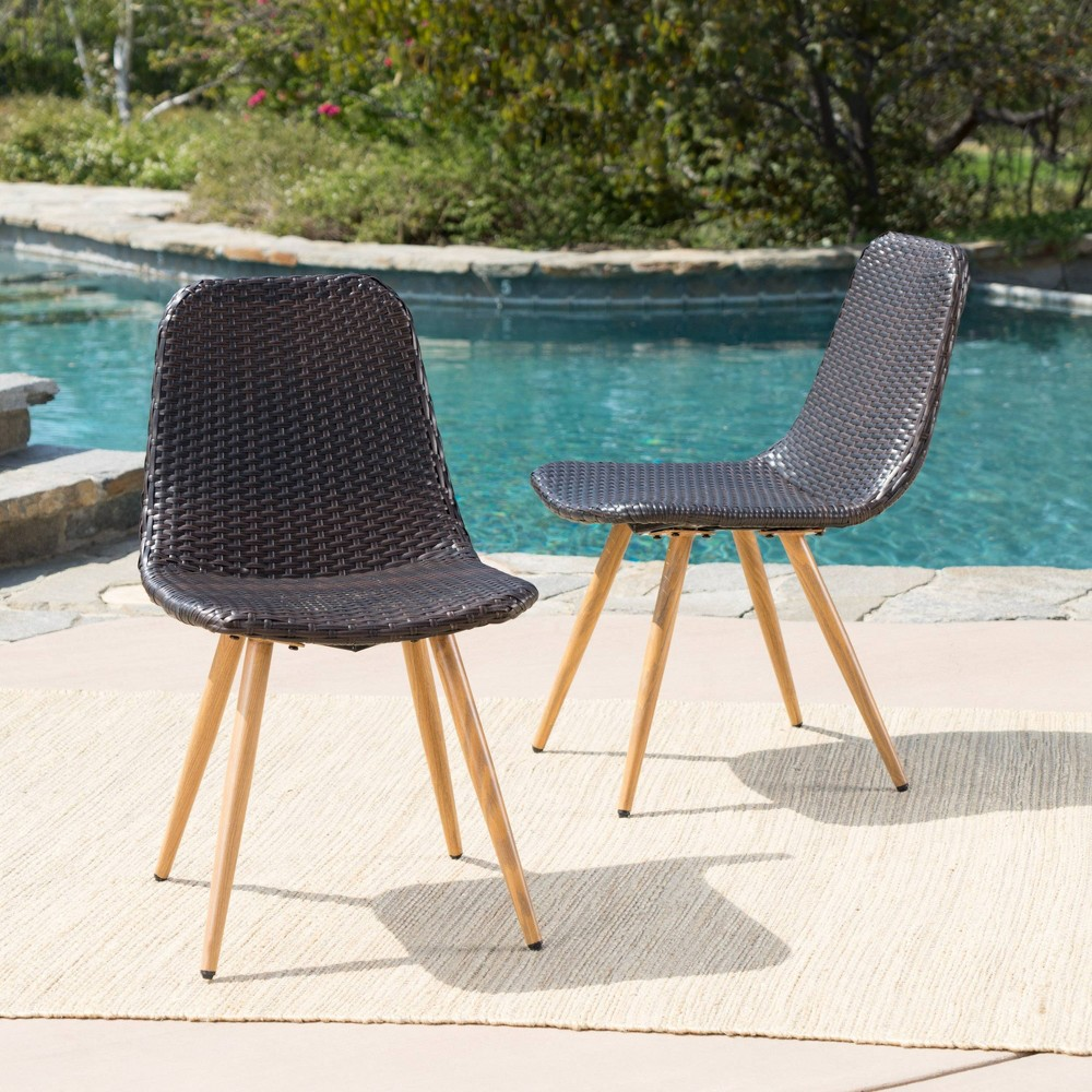 Gila 2pk Wicker Dining Chairs - Brown/Light Brown - Christopher Knight Home