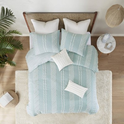 Full/Queen Kara Cotton Jacquard Comforter Mini Set Aqua