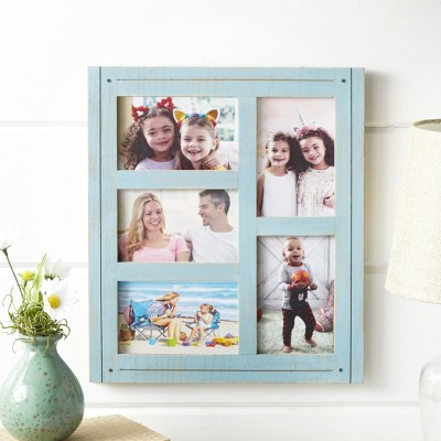 Lakeside Distressed Finish 5-Slot Collage Wall Hanging Photo Frame