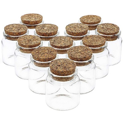 Bright Creations 12 Pack Glass Jars Storage Cork Bottles with Lid Holds 50ml for Party Favors, 1.3 x 2.1 Inches, Clear