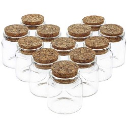 12 Pack Glass Jars Storage Cork Bottles with Lid Holds 50ml for Party Favors, 1.3 x 2.1 Inches, Clear
