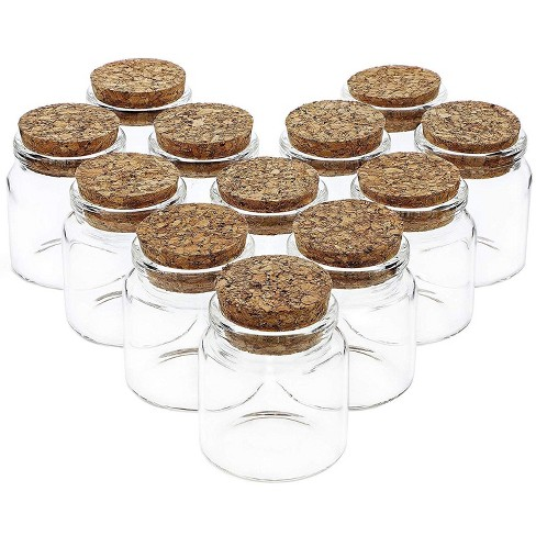 12 Pack Glass Jars Storage Cork Bottles with Lid Holds 50ml for Party Favors, 1.3 x 2.1 Inches, Clear - image 1 of 4