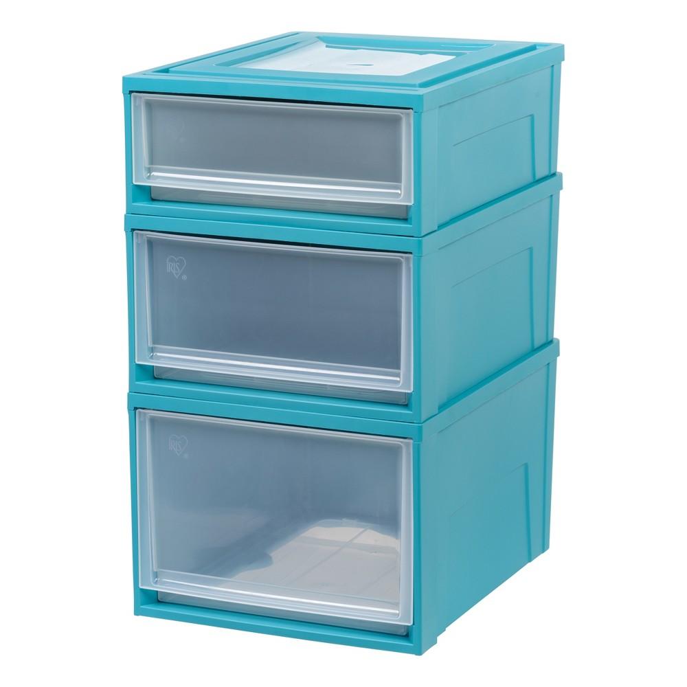 Iris Stacking Plastic Storage Drawers 3pc Set - Blue