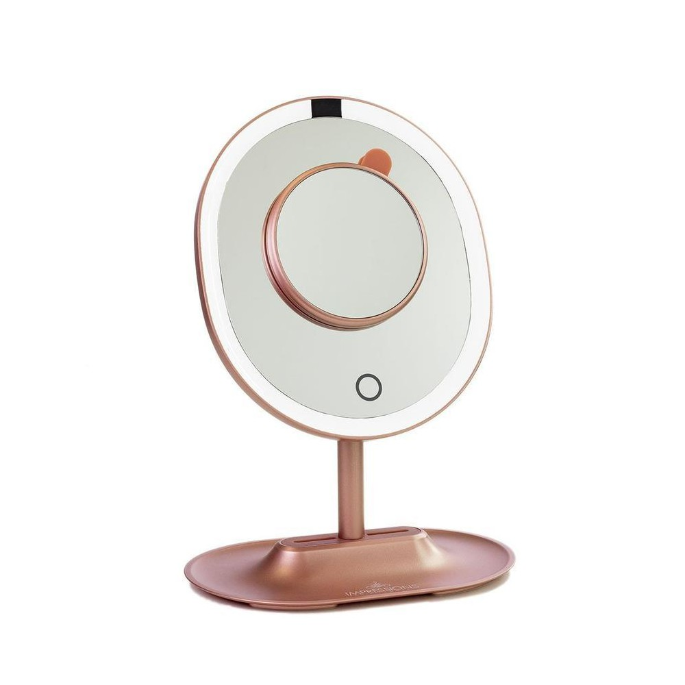 Image of Impressions Vanity Touch Wave Motion-Activated LED Makeup Mirror with Detachable 10x Mirror - Rose Gold, Pink