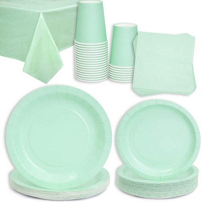 Juvale Mint Green Party Supplies - Table Cover, Napkins, Plates, Cups (Serves 24)