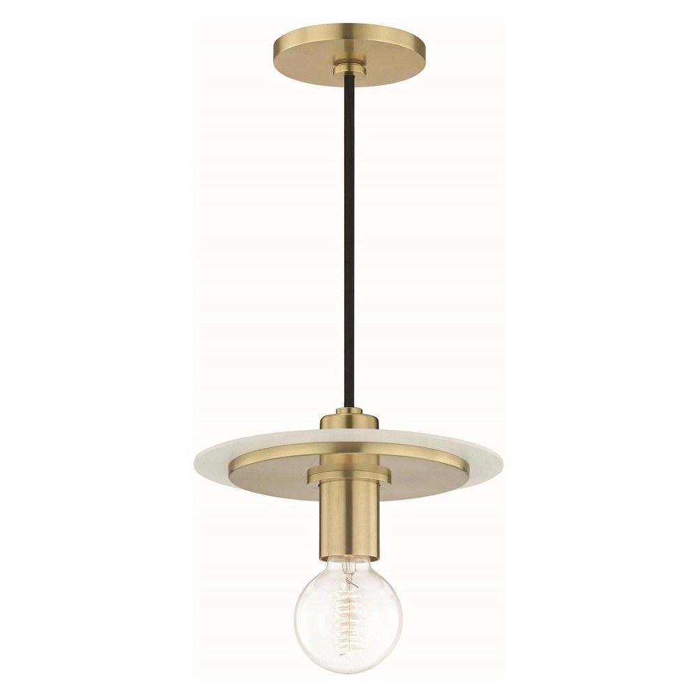 1pc Milo Small Light Pendant White/Brass - Mitzi by Hudson Valley