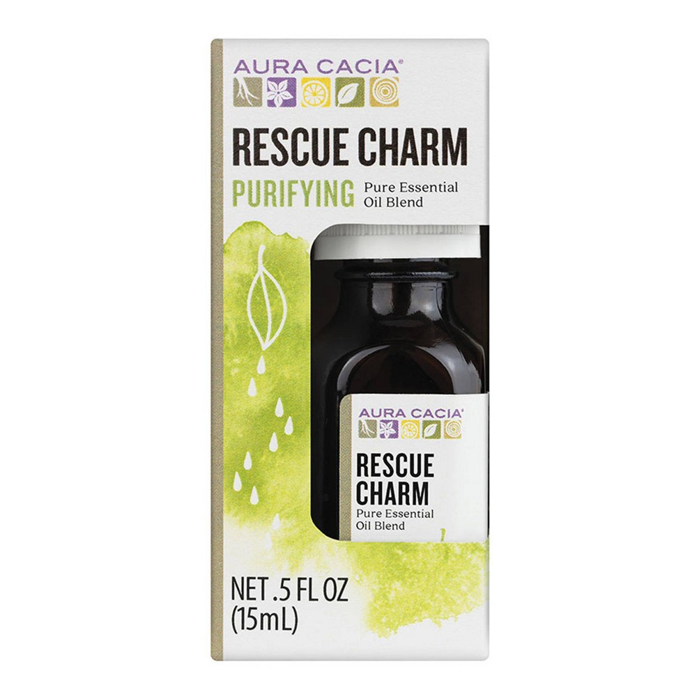 Image of Aura Cacia Rescue Charm Purifying Pure Essential Oil Blend - 0.5 fl oz
