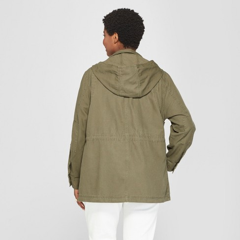 ae0cbd6153ceb Women s Plus Size Utility Anorak Jacket - Ava   Viv™ Olive 2X   Target