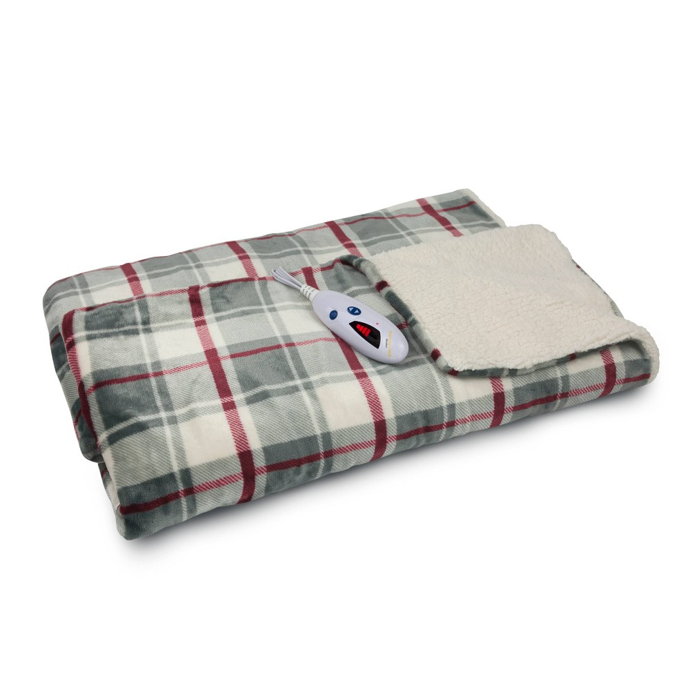 "Image of ""62"""" x 50"""" Velour & Sherpa Electric Throw Blanket Gray/Cream Plaid - Biddeford Blankets"""