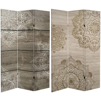 "6"" Double Sided Mandala On Oak Canvas Room Divider Beige - Oriental Furniture"